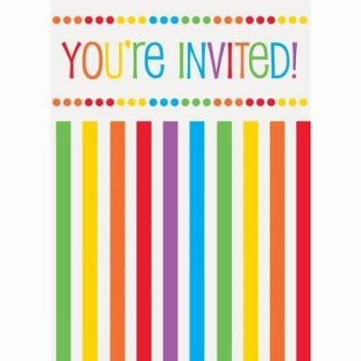 Rainbow themed invitation