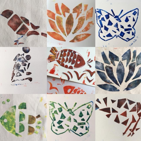 littlemakendoers leaf paintings
