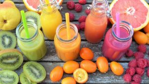 Colourful fruit juices for a party