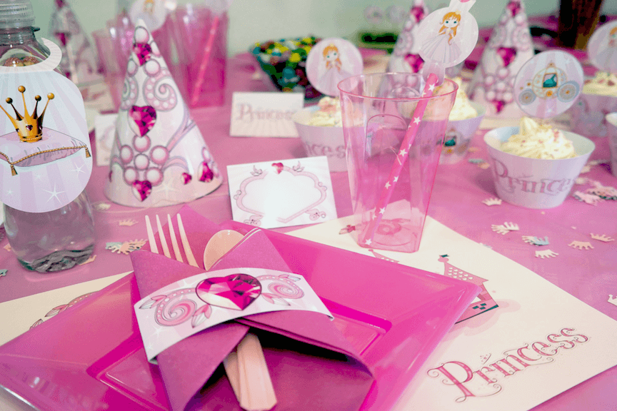 Princess party tableware for kids