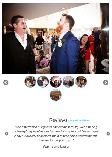 Screenshot of Partywizz interface