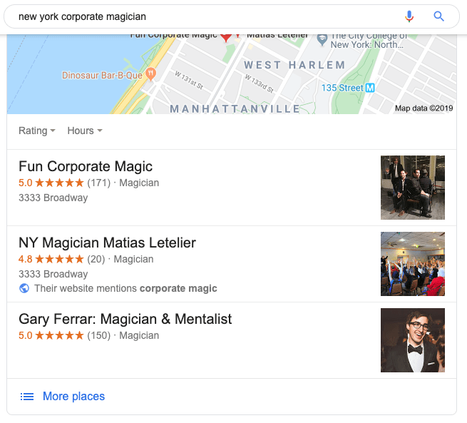 Google reviews for corporate magicians
